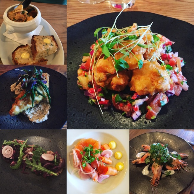 Starters clockwise from top left: Fish & Shellfish Soup, King Prawn Pakoras, Grilled Crevettes, Smoked Salmon, Seared Tuna with Pickled Vegetables, Tempura Battered Sea Bass & Baba Ghanoush